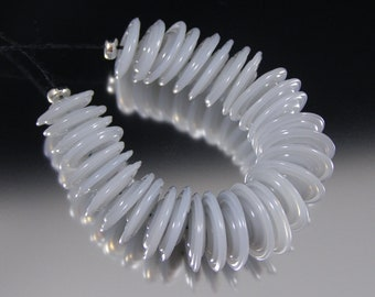 Cloud Opal - Handmade Lampwork Glass Disc Bead Set by That Bead Girl