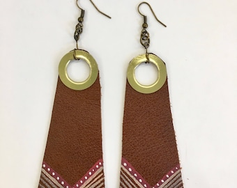 Gold Gromet Painted Leather Earrings, Painted Leather Earrings, Natural Earrings, Hippie Earrings