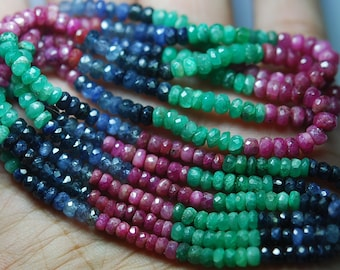 13 Inch-Super-FINEST-   Multi Precious faceted rondelles Emerald, Ruby, Blue sapphire, 3.5-4mm
