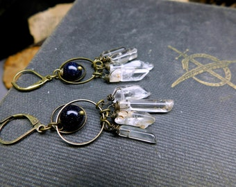 They Fell From The Sky. Blue Goldstone, Antique Brass, and Pink & Green Tourmaline Fringe Halo Earrings