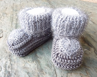 """My little Eve"" baby booties knit 3/6 month size 100% handmade"
