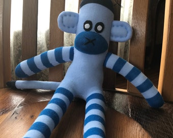 Light and Dark Blue Sock Monkey with Stripes