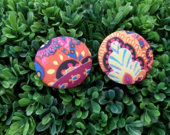 Carnival- Handmade Fabric Button Earrings