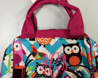 Monogram Lunch Bag Owl Print with Pink Trim