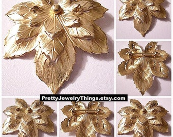 Sarah Coventry Maple Leaf Three Layered Pin Brooch Gold Tone Vintage Round Center Accent Bead Etched Scalloped Edges