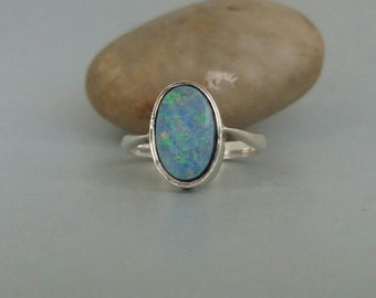 Fire Opal Sterling Silver Ring Doublet Blue Simple Modern Statement Ring Uk Size N 1/2 US 7