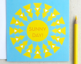 Sunny Day Thinking of You Card - Sunshine Geometric Square Any Occasion Greeting Card