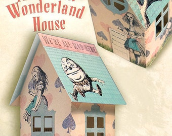 printable Alice in Wonderland House , instant Download, digital collage sheet, DIY,alice supplies