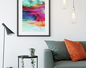Canvas or Metal wall art Bright Mountain Wall art artwork colorful display mountain acrylic painting the rainbow connection
