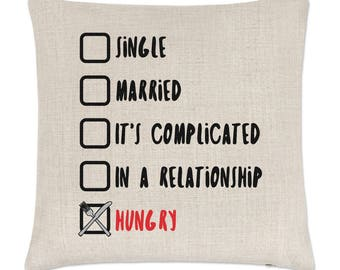 Single Married Hungry Linen Cushion Cover