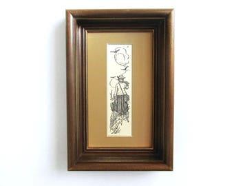Artisan Framed Original c. 1902  Antique Engraving of Woman Artist. Framed Art. Naturalist. Home Decor.