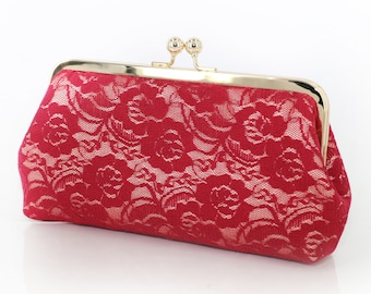 Burgundy Floral Lace Clutch | Bridal and Bridesmaids Pink & Red Clutch