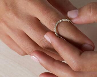 Zahara, minimalist engagement ring, half circle wedding band, curve diamond ring, micro pave engagement ring, tiny diamonds ring, solid gold