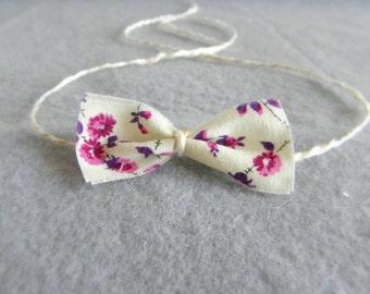 Baby headband halo tie back floral fabric bow cream purple magenta pink flowers photography photo prop newborn toddler girl