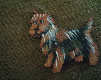 Norwich terrier dog pin custom wood