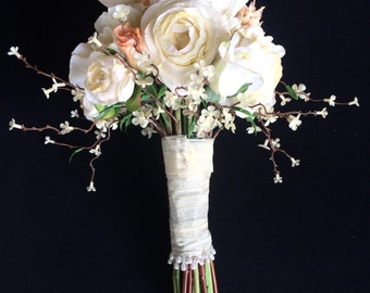 Ivory Ranunculus, Calla Lily, and Daisy with Peach Roses and Cynara Hand-Tied Silk Bridal Bouquet