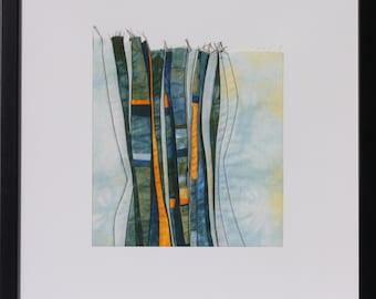 """Quilt, patchwork, original, Artquilt, textiles mural, textile art, title: """"Heavenly blue"""""""