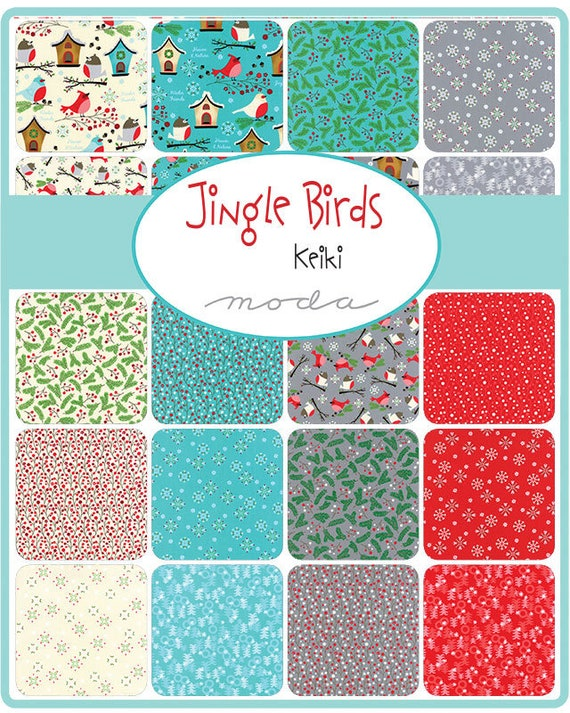 Winter Birds, Birdhouses, White Snowflakes With Red Berries, Layer Cake From Jingle Birds by Keiki For Moda Fabric 33250 LC