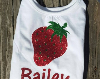 Strawberry t shirt, strawberry t shirt with name, monogram strawberry shirt or onesie, strawberry outfit, glitter strawberry