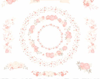 "Blush Ivory Wedding Floral Wreaths Clipart Set  - ""WEDDING FLORAL CLIPART"" - 11 images, 300 dpi. Png files. Instant Download"
