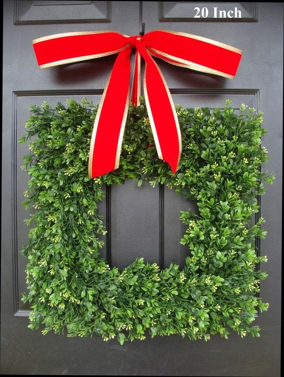 Square Artificial Boxwood Holiday Wreath Christmas Wreath- Christmas Decor- Ready to Ship-Christmas Decoration- Evergreen Alternative