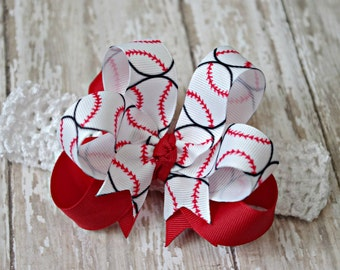 Boutique Baseball Infant/Toddler Headband Hair Bow Customize With Team Colors