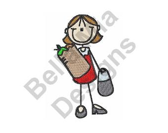 Grocery Shopping - Machine Embroidery Design, Shopping Girl, Shopping, Girl