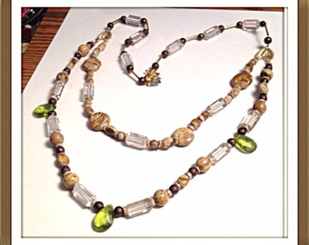 Handmade MWL sandstone beaded necklace. 0323
