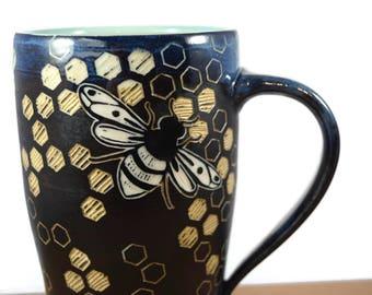 Bee mug, ready to ship