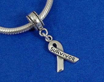 Survivor Ribbon European Dangle Bead Charm - Sterling Silver Cancer Survivor Charm for European Bracelet