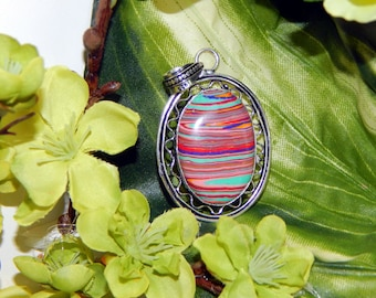 Stunning Selkie inspired vessel - Handcrafted Rainbow Calsillica pendant necklace