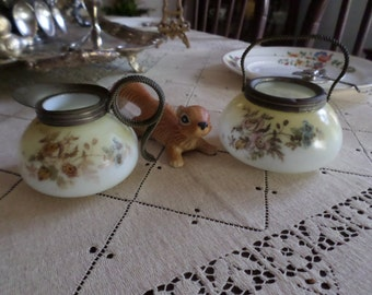 Victorian Mt Washington Custard Glass Sugar Bowl and Creamer-Braided Metal Handles-Hand Painted Floral Design-Pale Yellow