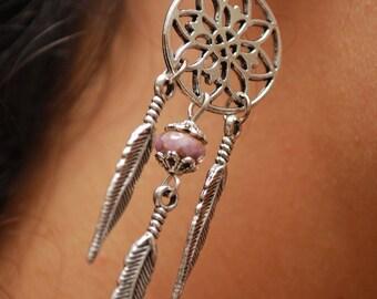 Dream catcher earrings, Silver round earrings, Feather earrings, Pink earrings, Hippie earrings