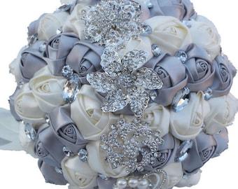 Silver & Ivory Mixed Satin Rose Bouquet Crystal Rhinestone Bridal Bouquet Bridesmaid Bouquet Brooch Bouquet Wedding Flowers