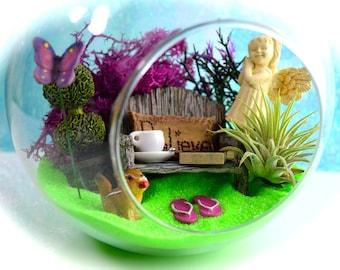 "Angel Terrarium Kit ~ 6"" Air Plant Terrarium Kit ~ Miniature Garden ~ Angel ~ Bible ~ Bench with Believe Pillow ~ Chipmunk ~ Christian Gift"