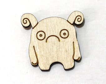 Melp the Timid Monster - Unpainted Wood Laser-Cut Magnet -