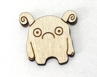 MELP le monstre timide - non peinte bois découpé au Laser Magnet-