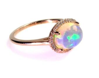 Natural Opal Ring .