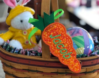 Easter Basket Name Tag, Personalized, Embroidered Carrot Easter Basket Name Tag