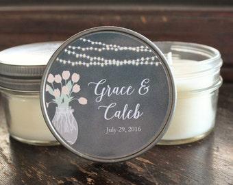 Set of 12 - 4 oz  Wedding Favor Candle//Hanging Lights and Mason Jar Favor/Rustic Wedding Favor//Personalized Wedding//Chalkboard Favors//