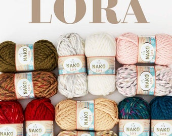 Meet Lora for seasonal scarves, bows, shawls and blanket 20% Wool knitting yarn, knit easy, quick, winter yarn
