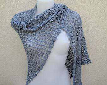 Fully handmade gray shawl