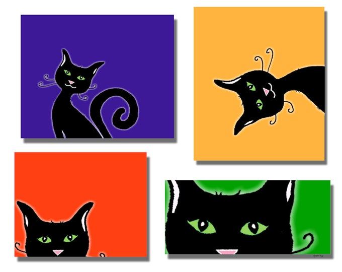 Cats in Squares Printed Greeting Card