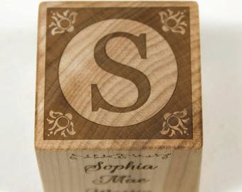 Wooden Baby Block Baptism Gift Baby Shower Personalized Nursery Decor