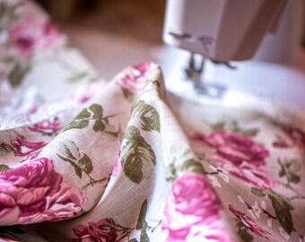 "EXCLUSIVE beige linen tablecloth 47"" x 57'' with white linen lace trim, rose print, towel, napkins, wedding, christmas, table decoration,"