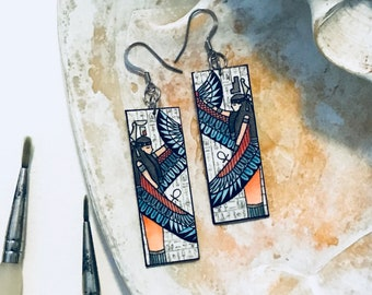 Ancient Egyptian Goddess Isis Nepthys Earrings Handpainted Watercolor