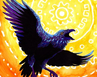 Original Art - Sun Raven, Watercolor and ink Painting / Illustration