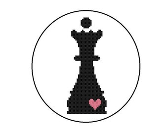 Nerdy Cross Stitch Pattern PDF - Queen Chess Piece - CrossStitch PDF File, Instant Download