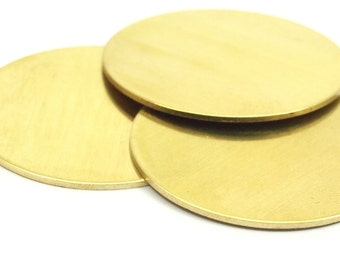 Round Personalized Blank, 5 Raw Brass Stamping Blanks, Tags Without Holes (38x1mm)  b0113