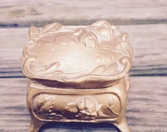 Gold Color Vintage Metal Jewelry Casket Ring Box